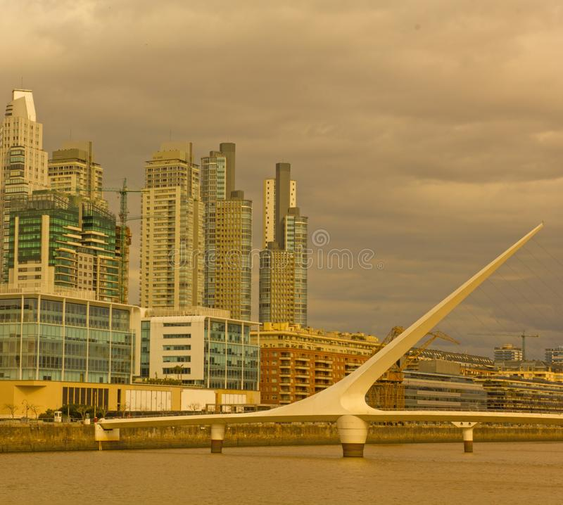 Dramatic sunset in Puerto Madero, Buenos Aires, Argentina stock photography