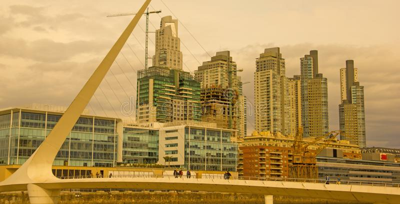 Dramatic sunset in Puerto Madero, Buenos Aires, Argentina royalty free stock photo