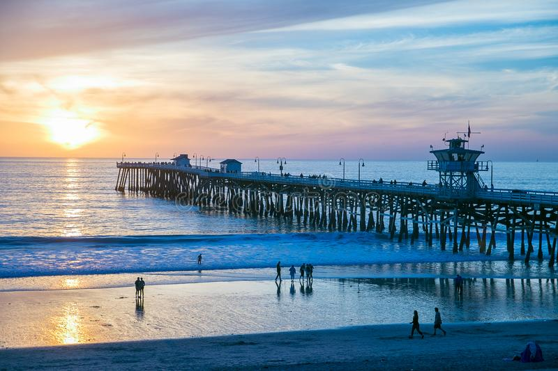 Dramatic sunset at San Clemente Pier, California stock photo
