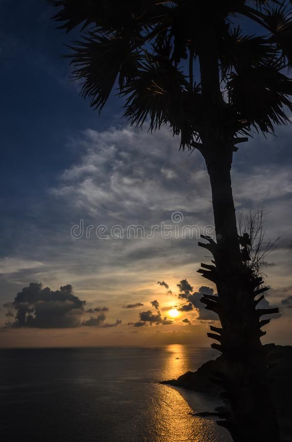 Dramatic sunset at sea with cloudy sky. royalty free stock photo