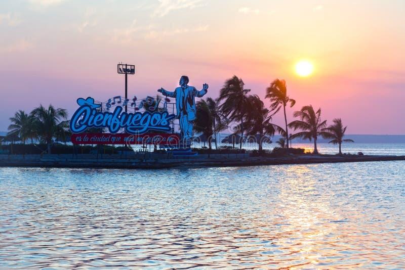 Camilo Cienfuegos Statue Dramatic Sunset Sky Caribbean Sea Cuba royalty free stock photography