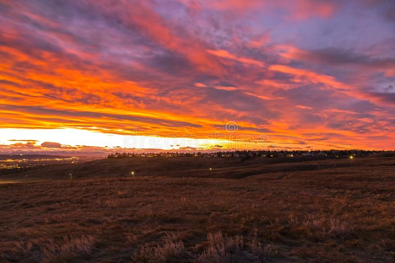 Dramatic Sunset Sky Clouds Alberta Foothills Prairies Landscape Nose Hill Alberta Canada royalty free stock photography