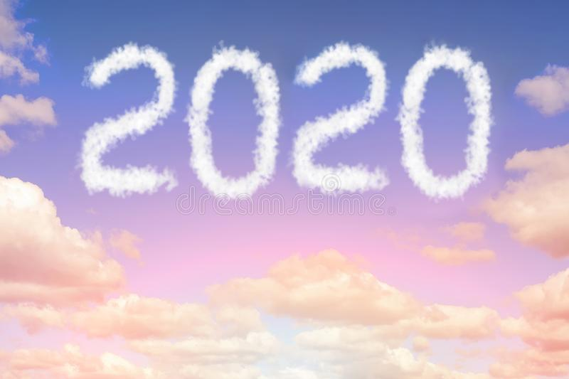 Dramatic sunset or sunrise cloudscape with 2019 text. Christmas and new year celebration concept stock photography