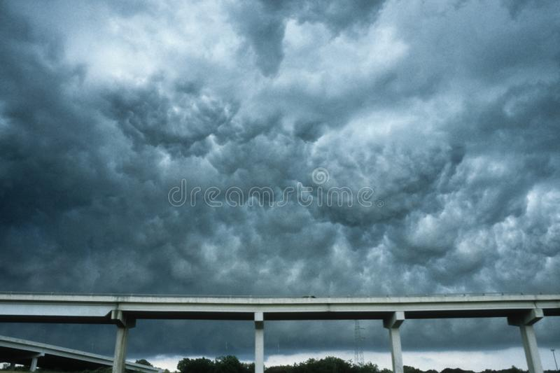 Dramatic thunderstorm clouds near Dallas, Texas. These are called Altocumulus undulatus asperatus clouds. royalty free stock images