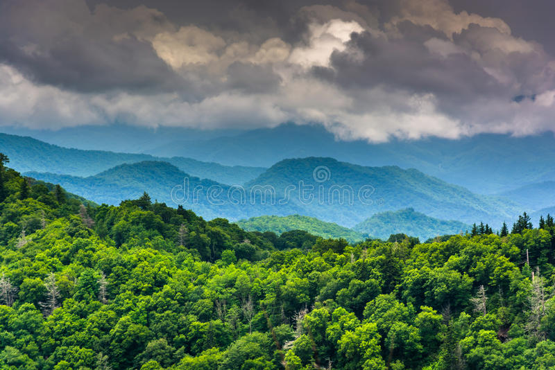 Dramatic view of the Appalachian Mountains from Newfound Gap Road, at Great Smoky Mountains National Park, Tennessee. royalty free stock image