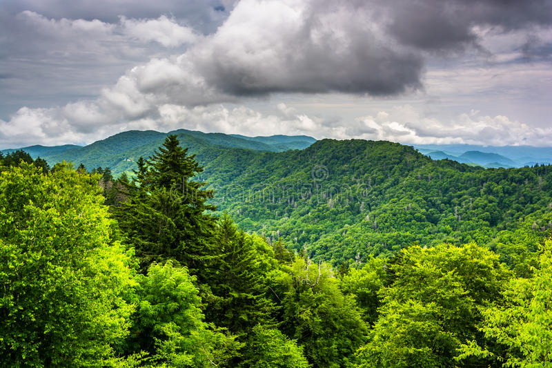 Dramatic view of the Appalachian Mountains from Newfound Gap Road, at Great Smoky Mountains National Park, Tennessee. royalty free stock photos