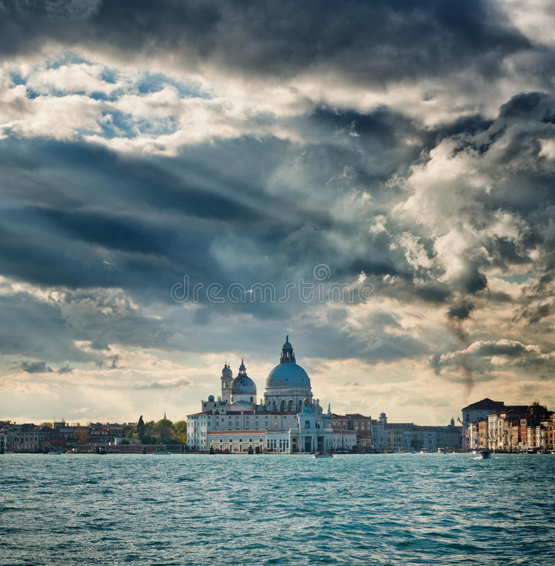 Dramatic view of Basilica Santa Maria della Salute stock photos