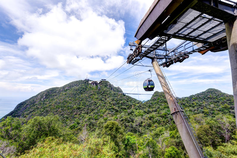 Dramatic view of cable car tower royalty free stock photo