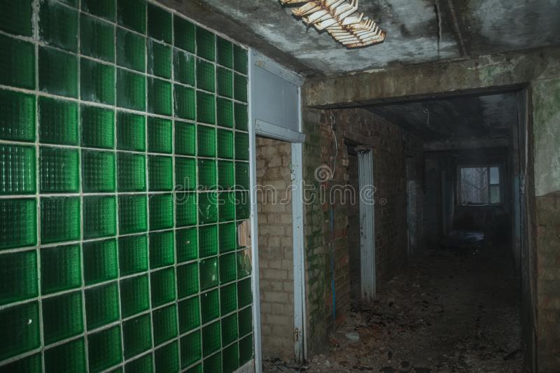 Dramatic view of abandoned building stock photo