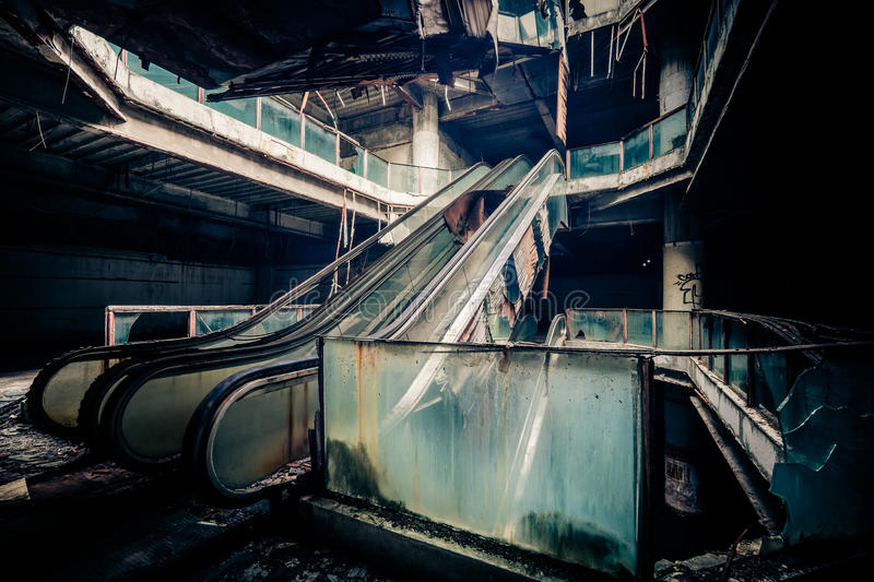 Dramatic view of damaged and abandoned building royalty free stock photography