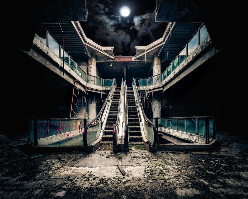 Dramatic view of damaged and abandoned building stock photography