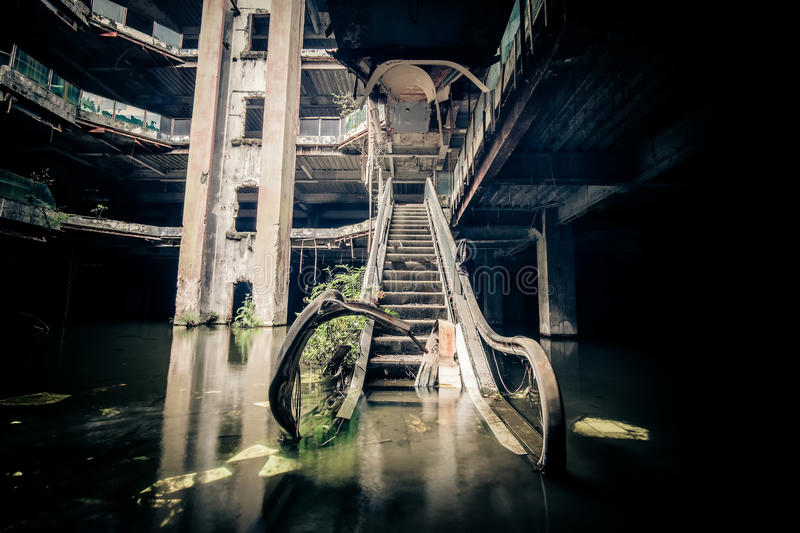 Dramatic view of damaged and abandoned building royalty free stock images