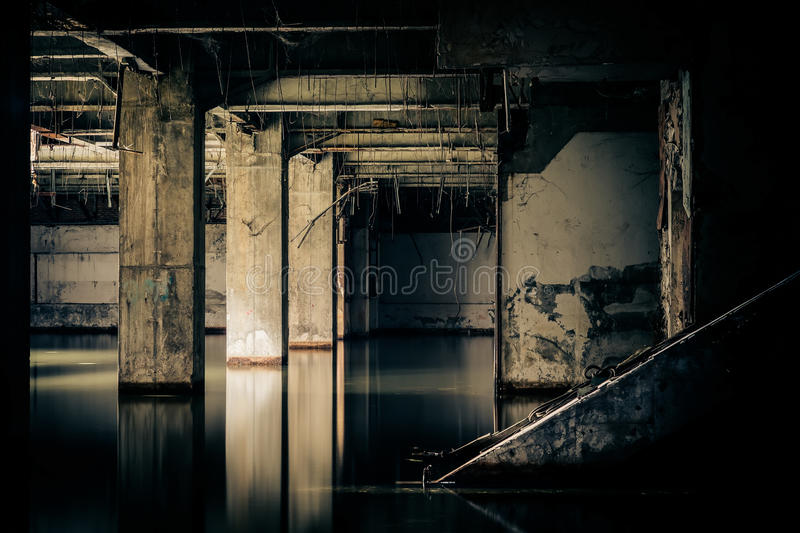 Dramatic view of damaged and abandoned building royalty free stock image