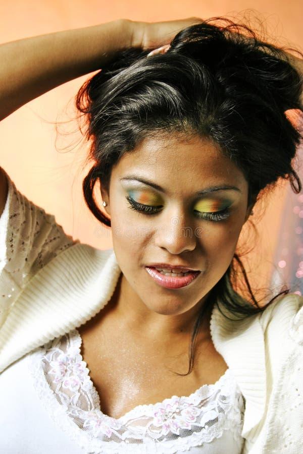 Dramatic woman wild makeup stock image