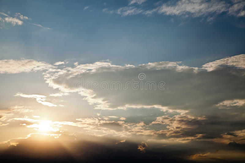 Dramatics sunset sky with clouds royalty free stock photos