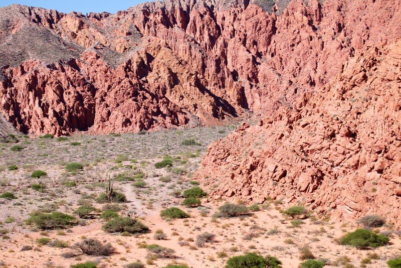 Dramatisch bergachtig landschap dichtbij Uquia in Jujuy-Provincie, Argentinië stock afbeelding