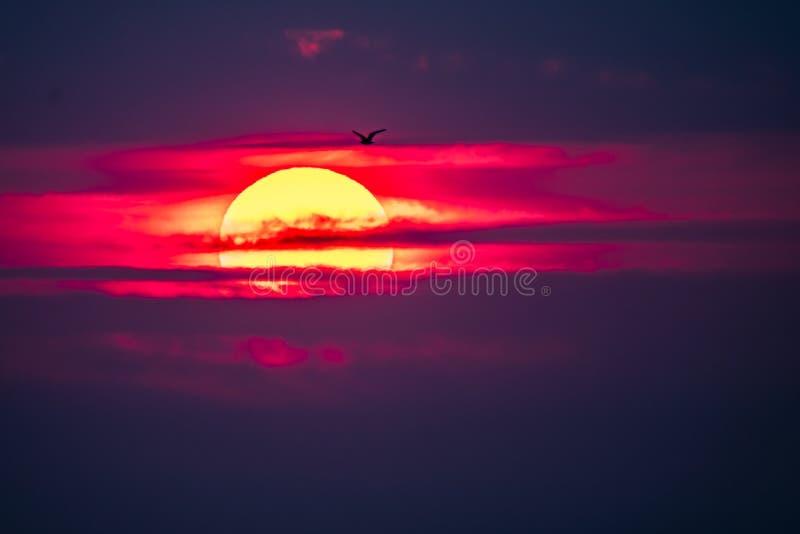 Dramatische die zonsondergang over Anglesey in Wales van Caernarfon - het Verenigd Koninkrijk wordt gezien royalty-vrije stock fotografie