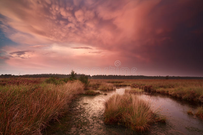Dramatische stormachtige zonsondergang met mammatuswolken royalty-vrije stock foto