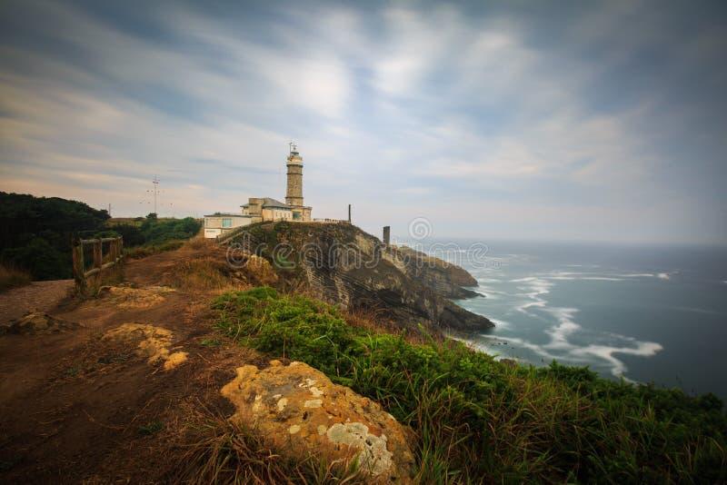 Dramatische wolken over de Cabo-Burgemeestervuurtoren, Santander, Spanje royalty-vrije stock afbeeldingen