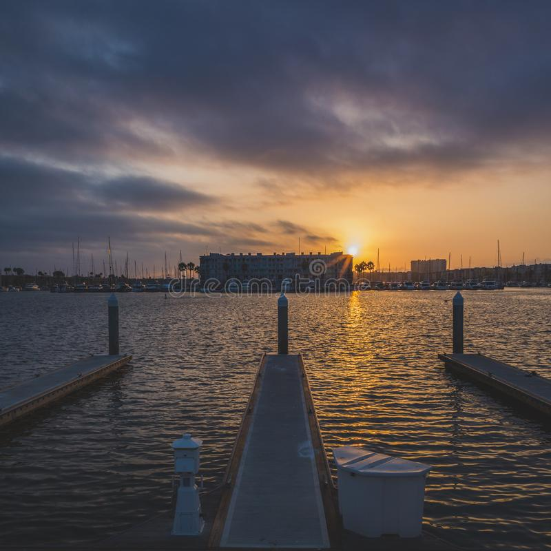 Dramatische Zonsondergang in Marina del Rey royalty-vrije stock fotografie