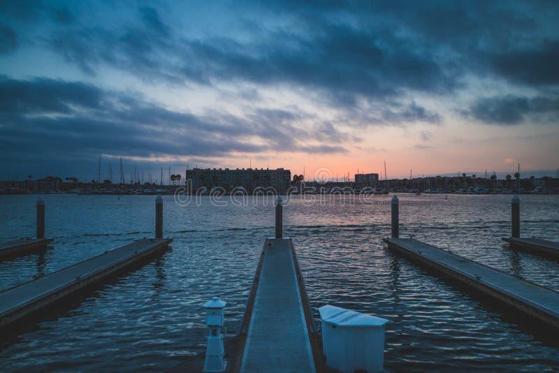 Dramatische Zonsondergang in Marina del Rey royalty-vrije stock foto's