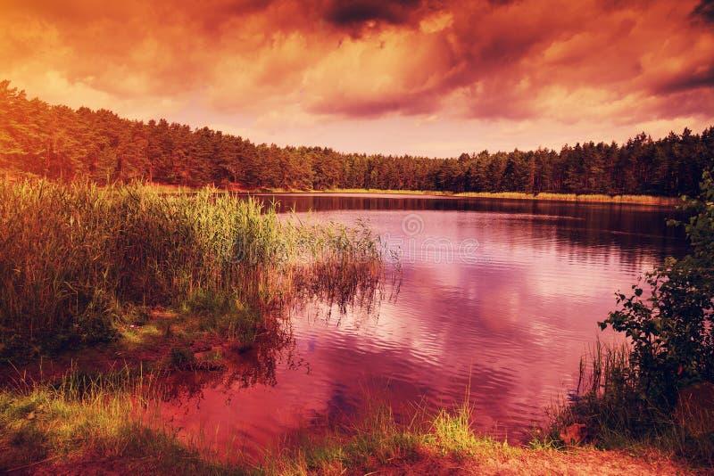 Dramatische zonsondergang over meer stock foto's