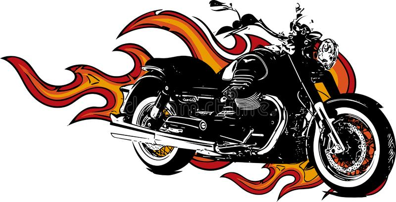 Dramatisk brinnande motorcykel som överväldigas i våldsamma brännheta apelsinflammor och exploderande gnistor för brand royaltyfri illustrationer