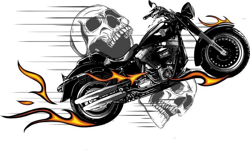 Dramatisk brinnande motorcykel som överväldigas i våldsamma brännheta apelsinflammor och exploderande gnistor för brand stock illustrationer