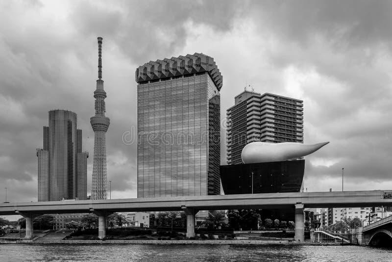 Dramatisk himmel över centret av Tokyo, Japan och den Sumida floden royaltyfri foto