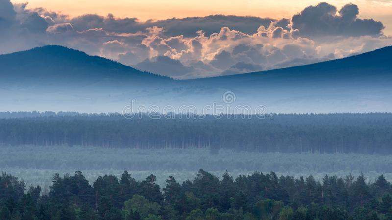 Dramatisk soluppgång i bergen med den tjocka vintergröna skogen i förgrund som täckas med dimma, Altai berg, Kasakhstan royaltyfri bild