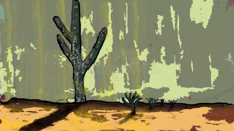 Dramatiska och overkliga Dreamscape för kaktus royaltyfri illustrationer
