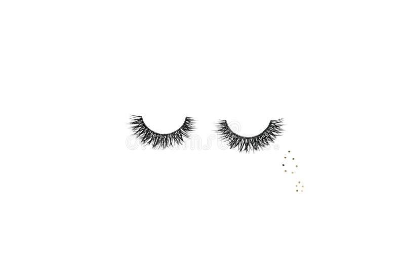 Dramatiska svarta långa falska ögonfrans som förläggas i formen av ett mummel royaltyfria bilder