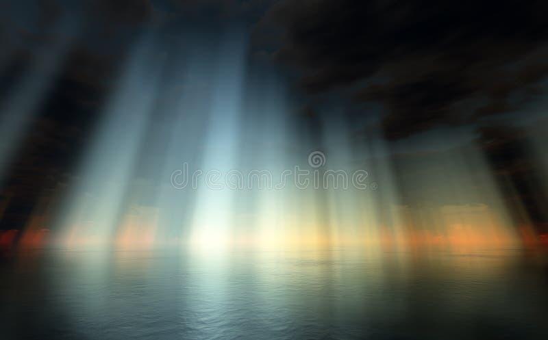 dramatiskt över havsskyen stock illustrationer