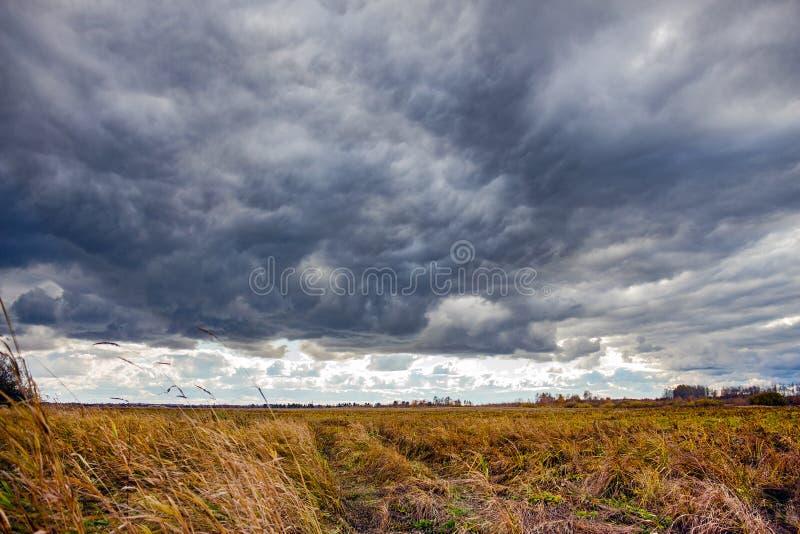Dramatiskt landskap med stormmoln royaltyfria bilder