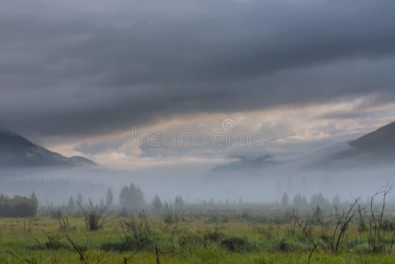 Dramatyczne chmury Nad Skalistej góry parka narodowego dolina obraz royalty free