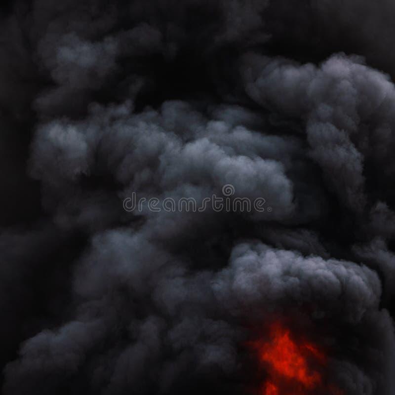 Dramatyczne czarne ruch chmury silny ogienia dym zakrywali niebo fotografia stock
