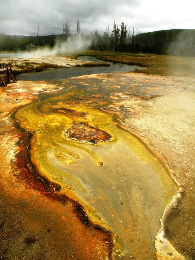 Dramatyczny Kolorowy Yellowstone Riverbed fotografia royalty free