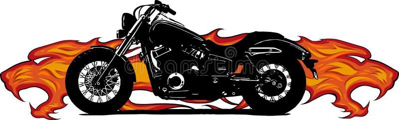 Dramatyczny płonący motocykl ogarniający w srogich ognistych pomarańcze płomieniach, ogieniu wybucha iskry i ilustracji