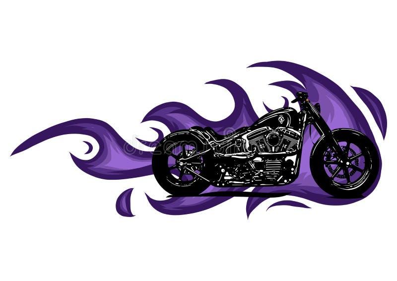 Dramatyczny płonący motocykl ogarniający w srogich ognistych pomarańcze płomieniach, ogieniu wybucha iskry i royalty ilustracja