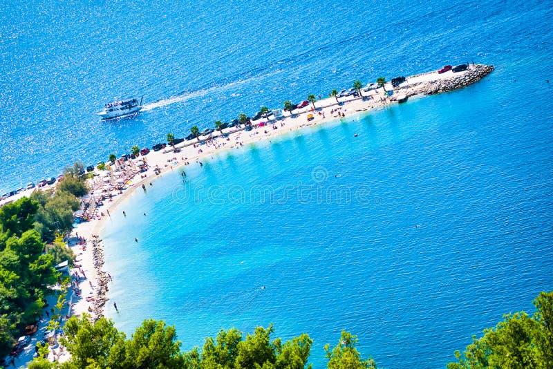 Dramatyczny widok Kasjuni plaża w Rozszczepionym dziejowym mieście, chorwacja Riviera zdjęcia royalty free