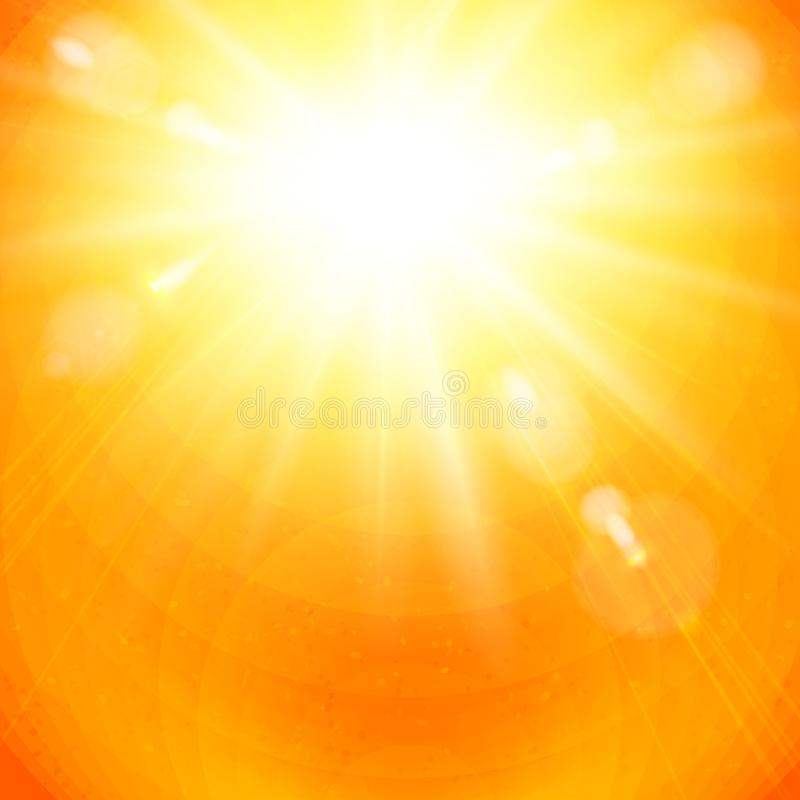 Dramatyczny złoty sunburst w ognistym pomarańczowym niebie ilustracja wektor