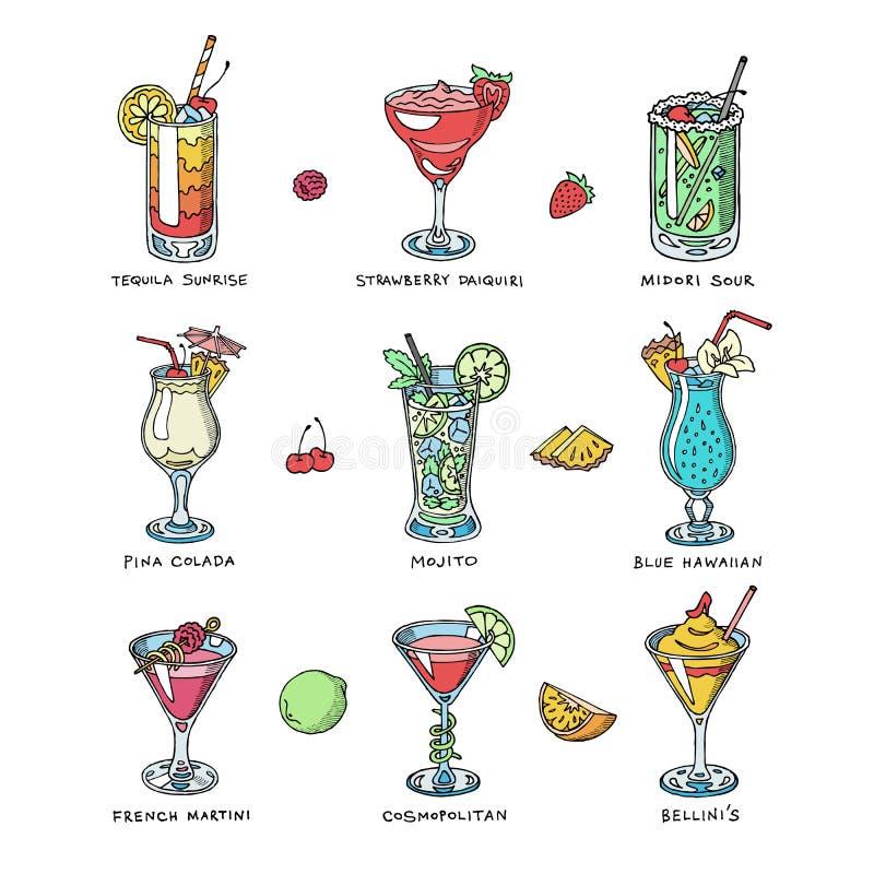 Drank die van de cocktail drinkt de vectoralcohol alcoholische tequila martini drinken cocktail in glas met mojito van pinacolada royalty-vrije illustratie