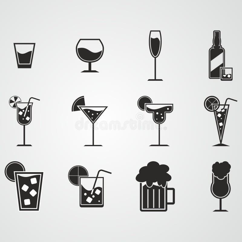 Drank en alcoholpictogramreeks stock illustratie