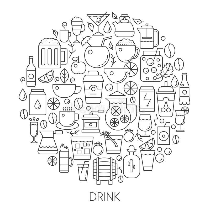 Drank infographic pictogrammen in cirkel - de vectorillustratie van de conceptenlijn voor dekking, embleem, kenteken De reeks van stock illustratie