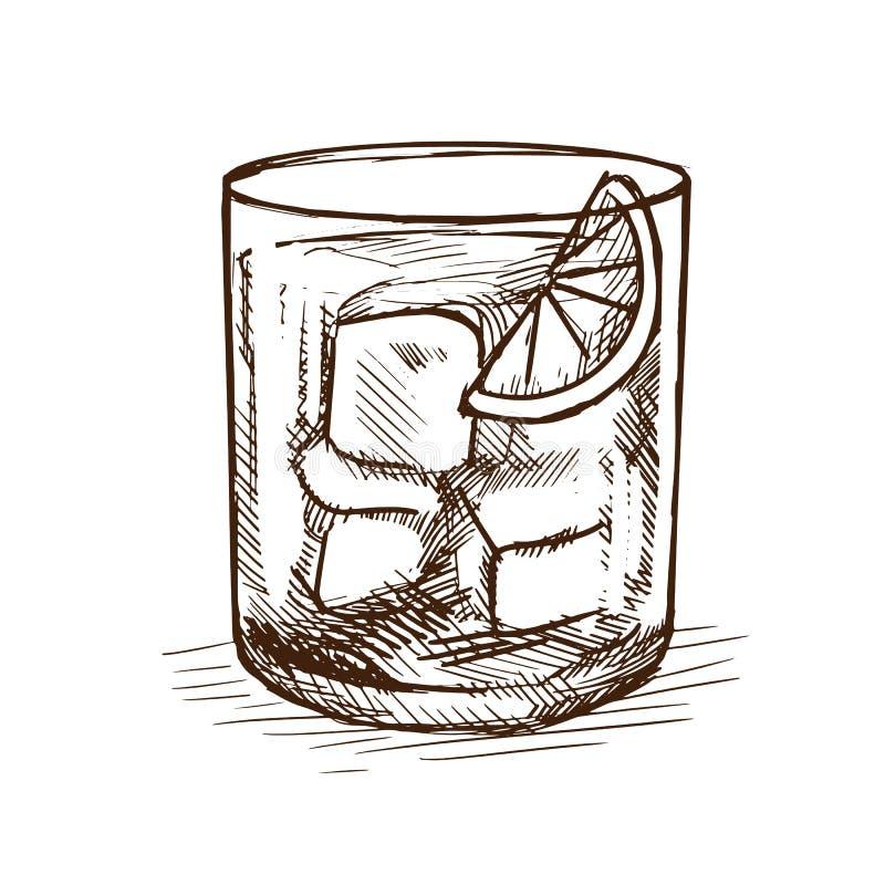 Drank jenever-tonicum, cocktail met toevoeging van citroenkalk en ijs royalty-vrije illustratie
