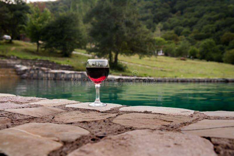 Drank in lang glas in poolside Verfrissing op de zomerdag Purpere sapcocktail of wijnstok royalty-vrije stock foto's