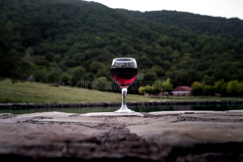 Drank in lang glas in poolside Verfrissing op de zomerdag Purpere sapcocktail of wijnstok Berg bosachtergrond stock afbeelding
