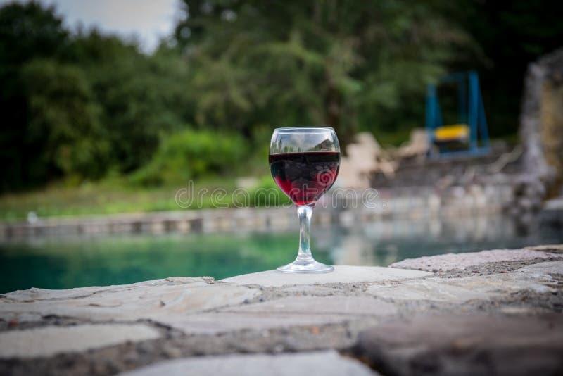 Drank in lang glas in poolside Verfrissing op de zomerdag Purpere sapcocktail of wijnstok Berg bosachtergrond royalty-vrije stock fotografie