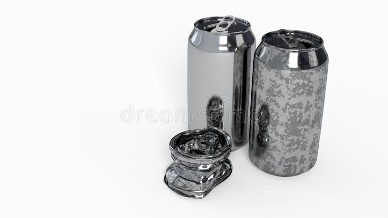 Drank vuile geeft nieuw verpletterd van achtergrond, 3d terug stock fotografie