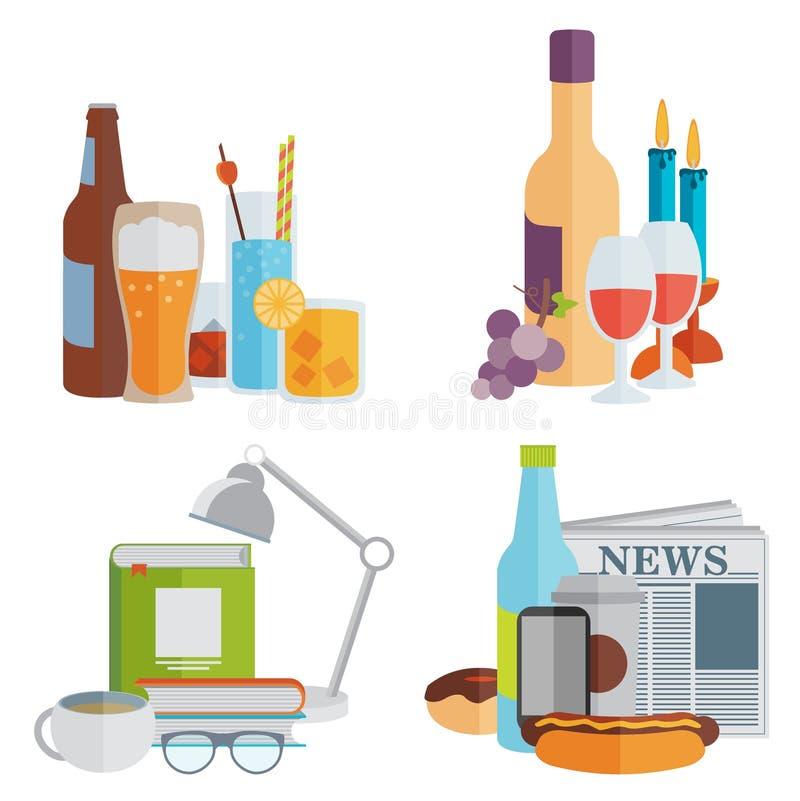dranken Alcoholisch en niet-alkoholisch Vlak Ontwerp stock illustratie